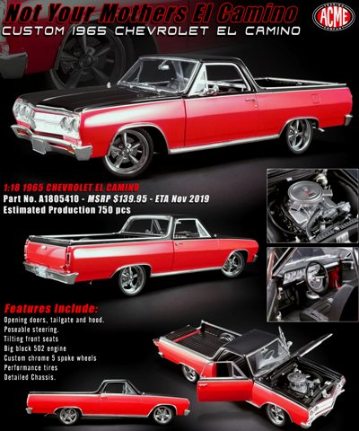 "1965 El Camino ""Custom"" Red & Black - Sharp! - Click Image to Close"